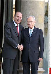 ©ABACA. 51956-1. Paris-France, October 30 2003. French president Jacques Chirac receives Israeli leader of opposition labour party Shimon Peres at the Elysee palace.