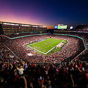 SANTA CLARA, CA - OCTOBER 07: General view of the interior of Levi's Stadium from an elevated level at sunset during the NFL regular season football game between the Cleveland Browns and the San Francisco 49ers on Monday, Oct. 7, 2019 at Levi's Stadium in Santa Clara, Calif. (Photo by Ric Tapia/Icon Sportswire)