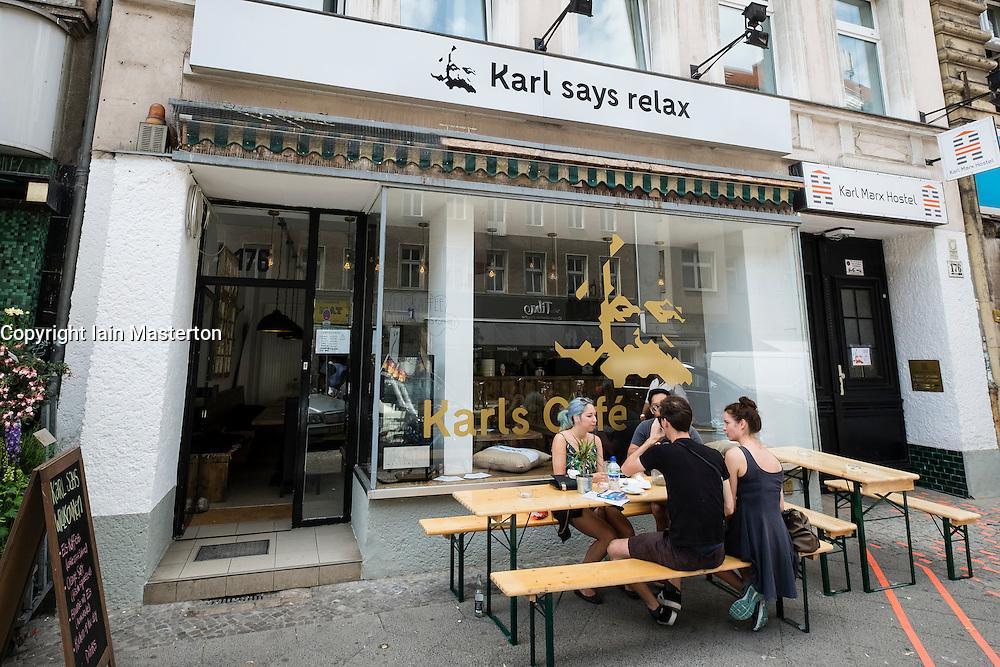 Modern cafe called Karl's Cafe on Karl Marx Strasse (Street) in Neukolln district in Berlin Germany