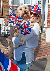 ©Licensed to London News Pictures 08/05/2020  <br /> Bexley, UK. Victoria Doody with dog Teddy, Bexley Village, South East London. VE-Day 75th anniversary celebrations in coronavirus lockdown. People enjoy parties in their front gardens with family and neighbours as they observe social distancing. Photo credit:Grant Falvey/LNP