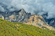 Morning clouds swirling about Mt. Temple northeast of Moraine Lake.<br />