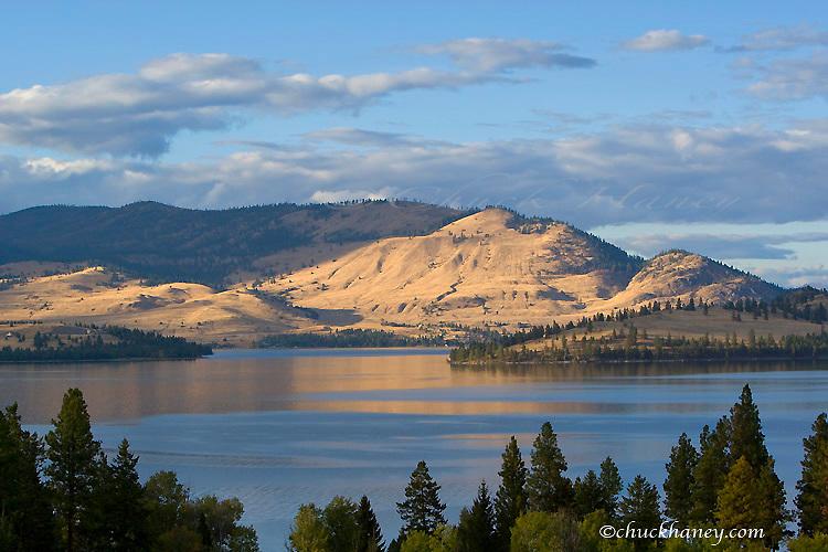 Looking across Big Arm bay towards Dayton on Flathead Lake in Montana