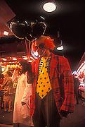 Scary clown at La Boqueria, Barcelona, Spain.