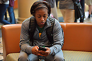 April 4, 2016; Indianapolis, Ind.; Keiahnna Engel sits in the team hotel before their game against Lubbock Christian in the NCAA Division II Women's Basketball National Championship game at Bankers Life Fieldhouse.