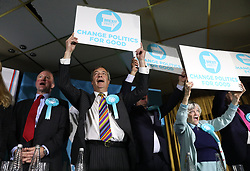 Brexit Party leader Nigel Farage and Ann Widdecombe (right) following a rally at Featherstone Working Man's Club, while on the European Election in Pontefract, West Yorkshire. Picture dated: Monday May 13, 2019. Photo credit should read: Isabel Infantes / EMPICS Entertainment.