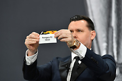 NYON, SWITZERLAND - Monday, December 14, 2020: Former Portugal player Maniche draws out Rangers FC during the UEFA Europa League 2020/21 Round of 32 draw at the UEFA Headquarters, the House of European Football. (Photo Handout/UEFA)