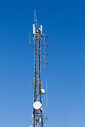 cellular and microwave antennas on lattice communications tower in Toowoomba, Queensland, Australia <br /> <br /> Editions:- Open Edition Print / Stock Image
