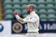Wicket - Jack Leach of Somerset celebrates taking the wicket of Aron Nijjar of Essex during the Specsavers County Champ Div 1 match between Somerset County Cricket Club and Essex County Cricket Club at the Cooper Associates County Ground, Taunton, United Kingdom on 26 September 2019.