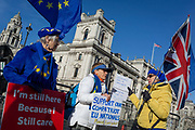 Two days before Brexit Day the date of 31st January 2020, when the UK legally exits the European Union, Remain voters protest outside the British Parliament as Ministers arrive for the weekly Prime Ministers Questions session, in Parliament Square, Westminster, on 29th January 2020, in London, England.