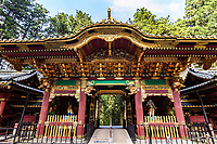 Yasha-mon Gate at Taiyu-in - Taiyuinbyo is the mausoleum of Iemitsu Tokugawa the shogun who was the grandson of Ieyasu. Rinnoji Temple was founded in 766 AD by the Buddhist hermit monk Shodo Shonin.  Rinnoji quickly became a popular retreat for ascetic monks who wished to meditate in the mountains.  It was once so important that it had 500 sub-temples under its rule.  Rinnoji is best known for its Sanbutsudoh Three Buddha Hall and the beautiful Japanese meditation garden Shoyo-en on its grounds.  The layout at Shoyo-en is modeled after Lake Biwa, showing the Japanese knack for representation through reduction and miniaturization.