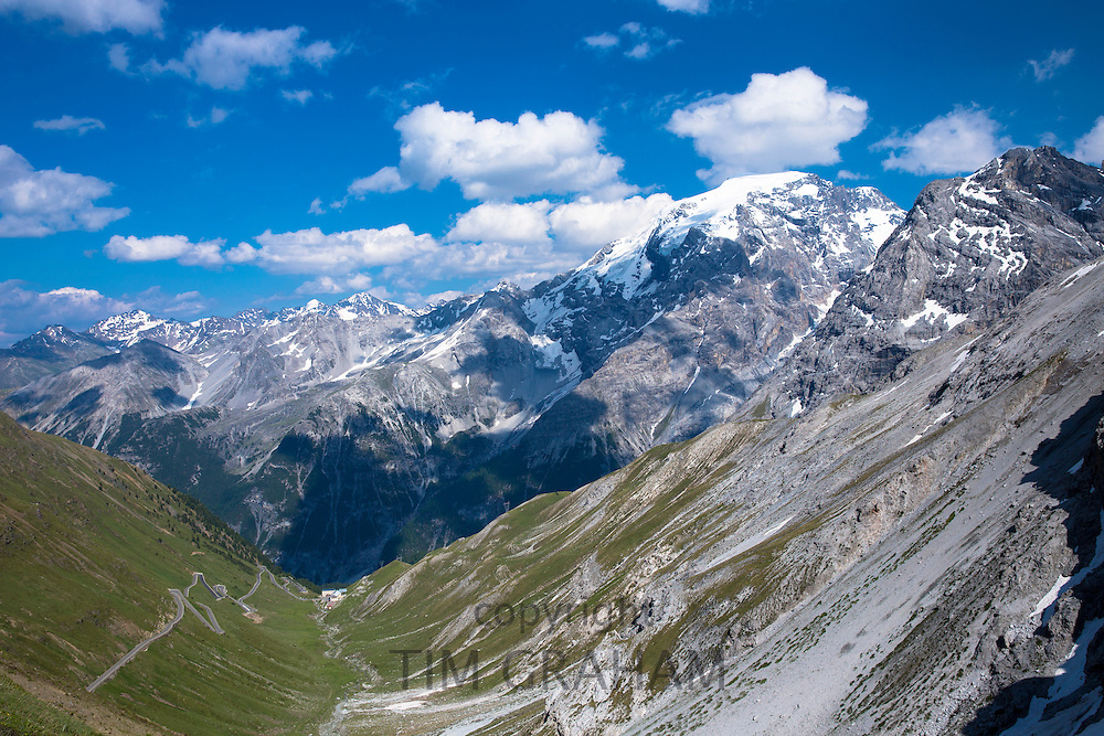 The Stelvio Pass (left) in The Ortler Alps - Passo dello Stelvio, Stilfser Joch - in the Eastern Alps in Northern Italy
