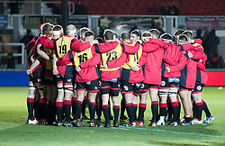 Dragons huddle during the pre match warm up<br /> <br /> Photographer Simon King/Replay Images<br /> <br /> Guinness Pro14 Round 10 - Dragons v Ulster - Friday 1st December 2017 - Rodney Parade - Newport<br /> <br /> World Copyright © 2017 Replay Images. All rights reserved. info@replayimages.co.uk - www.replayimages.co.uk