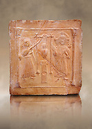 6th-7th Century v Christian Terracotta tiles depicting Christ changing Water into wine - Produced in Byzacena -  present day Tunisia. <br /> <br /> These early Christian terracotta tiles were mass produced thanks to moulds. Their quadrangular, square or rectangular shape as well as the standardised sizes in use in the different regions were determined by their architectonic function and were designed to facilitate their assembly according to various combinations to decorate large flat surfaces of walls or ceilings. <br /> <br /> Byzacena stood out for its use of biblical and hagiographic themes and a richer variety of animals, birds and roses. Some deer and lions were obviously inspired from Zeugitana prototypes attesting to the pre-existence of this province's production with respect to that of Byzacena. The rules governing this art are similar to those that applied to late Roman and Christian art with, in the case of Byzacena, an obvious popular connotation. Its distinguishing features are flatness, a predilection for symmetrical compositions, frontal and lateral representations, the absence of tridimensional attitudes and the naivety of some details (large eyes, pointed chins). Mass production enabled this type of decoration to be widely used at little cost and it played a role as ideograms and for teaching catechism through pictures. Painting, now often faded, enhanced motifs in relief or enriched them with additional details to break their repetitive monotony.<br /> <br /> The Bardo National Museum Tunis, Tunisia