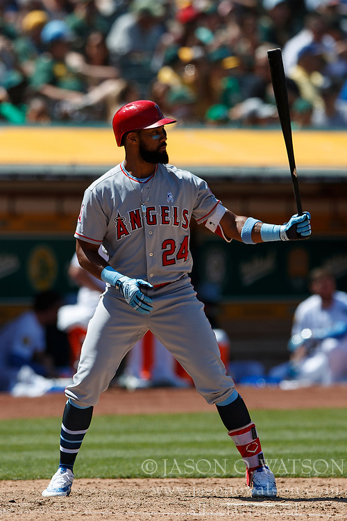 OAKLAND, CA - JUNE 17: Chris Young #24 of the Los Angeles Angels of Anaheim at bat against the Oakland Athletics during the ninth inning at the Oakland Coliseum on June 17, 2018 in Oakland, California. The Oakland Athletics defeated the Los Angeles Angels of Anaheim 6-5 in 11 innings. (Photo by Jason O. Watson/Getty Images) *** Local Caption *** Chris Young