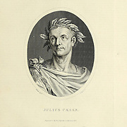 Gaius Julius Caesar (12 July 100 BC – 15 March 44 BC) was a Roman general and statesman who played a critical role in the events that led to the demise of the Roman Republic and the rise of the Roman Empire. Copperplate engraving From the Encyclopaedia Londinensis or, Universal dictionary of arts, sciences, and literature; Volume XXII;  Edited by Wilkes, John. Published in London in 1827