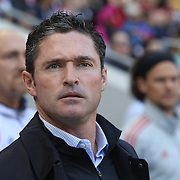 New England Revolution Head Coach Jay Heaps on the sideline during the New York Red Bulls Vs New England Revolution, MLS Eastern Conference Final, first leg at Red Bull Arena, Harrison, New Jersey. USA. 23rd November 2014. Photo Tim Clayton