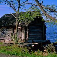 Europe, Russia, Kizhi Island. Boathouse