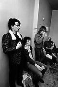 Photograph of U2 Bono, The Edge, larry and Adam back at the hotel -  USA tour 1981 Chicago  USA