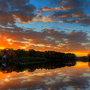 Fall sunset over Chase Pond, Kittery, Maine