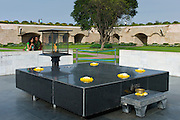 Gandhi Memorial - a platform of black marble where Mahatma Gandhi was cremated, Raj Ghat, - Rajghat - New Delhi, India