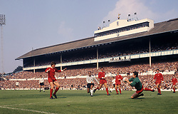 File photo dated 16-08-1969 of Liverpool goalkeeper Tommy Lawrence takes the ball during the game against Tottenham Hotsupr at White Hart Lane.