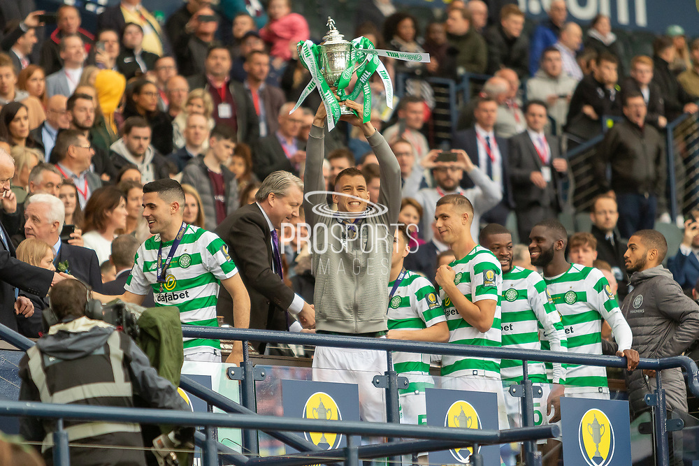 Filip Benkovic holds the William Hill Scottish Cup aloft following their victory today in the William Hill Scottish Cup Final match between Heart of Midlothian and Celtic at Hampden Park, Glasgow, United Kingdom on 25 May 2019.