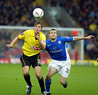 Photo. Chris Ratcliffe. <br />Watford v Ipswich. The League Championship. 23/10/2004<br />Lee Cook of Watford goes up for an aerial ball with Ian Westlake of Ipswich