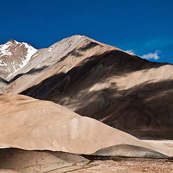 Shadows, snow and the moon  on the backs of the mountains of Ladakh.