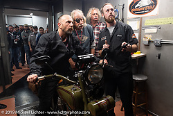 Todd Kraft checks out his 1928 Harley-Davidson JDH on a dyno at Harley-Davidson of Jamestown as fellow team-mates Dan (Todd's Dad) & Einstein double Doug Feinsod check out the power curve shop mechanic Casey Anderson during the Motorcycle Cannonball coast to coast vintage run. Stage-3 (227-miles) from Binghampton to Jamestown, NY. Monday September 10, 2018. Photography ©2018 Michael Lichter.