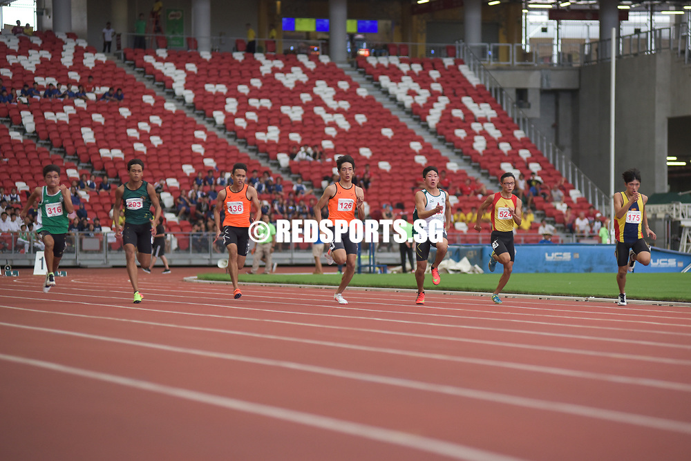 Reuben Rainer Lee (#126) of Singapore Sports School placed first with a timing of 00:11.21. In second place is Gerard Wirawan (#334) of St. Joseph's Institution (International) with a timing of 00:11.37. Coming in third is Nur Syarin B Zahari (#136) of Singapore Sports School with a timing of 00:11.41. Story: https://www.redsports.sg/2017/05/03/b-c-div-100m-elizabeth-ann-tan/