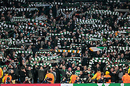 Celtic fans in fine voice at full time after the Champions League match between Manchester City and Celtic at the Etihad Stadium, Manchester, England on 6 December 2016. Photo by Mark P Doherty.