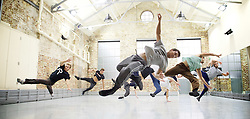 Balletboyz<br /> studio rehearsal for 'Young Men' at the BalletBoyz dance studio in Kingston, Surrey, Great Britain <br /> 16th September 2015 <br /> <br /> rehearsing in practice clothes the whole company :<br /> <br /> <br /> <br /> Andrea Carrucciu, Simone Donati, Flavien Esmieu, Marc Galvez, Oxana Panchenko, Edward Pearce, Leon Poulton, <br /> Harry Price, Matthew Rees, Matthew Sandiford, Bradley Waller, Jennifer White<br /> <br /> 'YOUNG MEN' <br /> Press nights:  October 6th and 7th 2015 at Sadler's Wells, London.<br /> <br /> <br /> <br /> Directors/Producers:  Michael Nunn and William Trevitt<br /> Choreography:   Iván Pérez<br /> Music:   Keaton Henson<br /> Lighting design: Jackie Shemesh<br /> Costumes: Carlijn Petermeijer<br /> <br /> <br /> Photograph by Elliott Franks <br /> Image licensed to Elliott Franks Photography Services