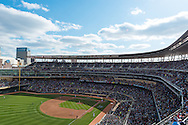 A general view of Target Field during the Minnesota Twins home opener against the Los Angeles Angels in Minneapolis, Minnesota on April 9, 2012.  The Angels defeated the Twins 5 to 1.