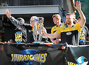Hurricanes coach Chris Boyd & Captain Danes Coles during the Victory Parade for the Super Rugby Championship winning Hurricanes. Wellington, New Zealand. 10th August 2016. © Copyright Photo: Grant Down / www.photosport.nz
