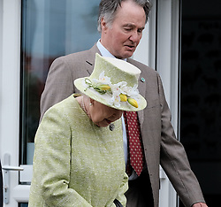 The Queen visited Gorgie City Farm in Edinburgh today as part of Royal Week.<br /> <br /> Gorgie City Farm is a community based initiative first opened in 1982<br /> <br /> Pictured: The Queen is shown around the inner city farm (hat detail)<br /> <br /> Alex Todd | Edinburgh Elite media