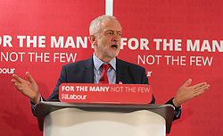 Labour leader Jeremy Corbyn speaks during an election campaign visit to Peterborough United Football Club.