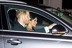 The Duke and Duchess of Sussex arrive at Buckingham Palace in London for the Prince of Wales' 70th birthday party.
