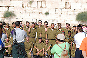 Israel, Jerusalem old city the wailing wall. Israeli Soldiers after taking the oath