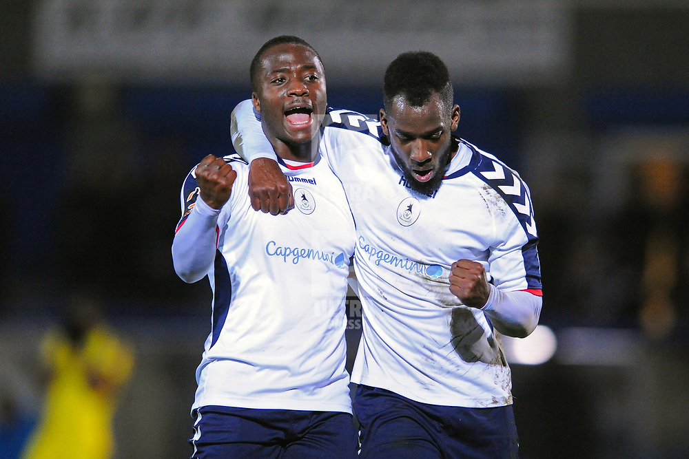TELFORD COPYRIGHT MIKE SHERIDAN 5/3/2019 - GOAL. Dan Udoh of AFC Telford and Amari Morgan Smith of AFC Telford celebrate after Udoh makes it 3-0 during the National League North fixture between AFC Telford United and Darlington at the New Bucks Head Stadium