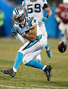 CHARLOTTE, NC - JAN 24:  Cornerback Robert McClain #27 of the Carolina Panthers reacts after almost making a interception during the NFC Championship game against the Arizona Cardinals at Bank of America Stadium on January 24, 2016 in Charlotte, North Carolina.