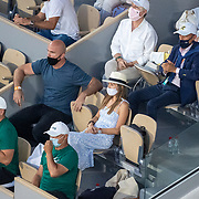 PARIS, FRANCE June 11. Jelena Dokovic, wife of Novak Djokovic of Serbia watching from the stands with his team during his match against Rafael Nadal of Spain on Court Philippe-Chatrier during the semi finals of the singles competition at the 2021 French Open Tennis Tournament at Roland Garros on June 11th 2021 in Paris, France. (Photo by Tim Clayton/Corbis via Getty Images)