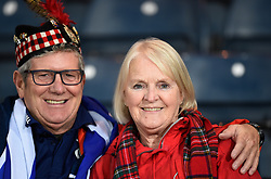 Scotland fans in the stand before kick off during the UEFA Nations League, League C Group one match at Hampden park, Glasgow.