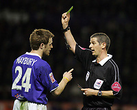Photo: Paul Thomas. Leicester City v Derby County, Walkers Stadium, Leicester. Coca Cola Championship, 26/04/2005. Alan Maybury recieves a yellow card from referee Andy D'Urso.