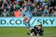 First chance of the game falls to Carli Lloyd (Manchester City Women's Football Club) who curls the ball around Maria Lindblad Christensen (Dameboldklubben Fortuna Hjørring) but also around the far post during the UEFA Womens Champions League quarter final second leg match between Manchester City Women and DBK Fortuna Hjorring at the Sport City Academy Stadium, Manchester, United Kingdom on 30 March 2017. Photo by Mark P Doherty.