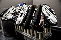 Skates in Dressing room of Team Slovenia at the 2017 IIHF Men's World Championship, on May 11, 2017 in AccorHotels Arena in Paris, France. Photo by Vid Ponikvar / Sportida