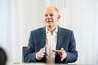 21 SEP 2020, BERLIN/GERMANY:<br /> Olaf Scholz, SPD, Bundesfinanzminister, waehrend einem Interview, Bundesministerium der Finanzen<br /> IMAGE: 21092020-01-0