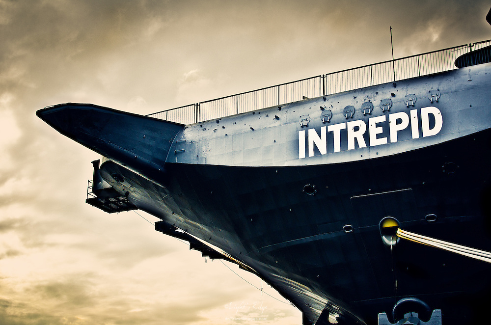 The bow of the aircraft carrier Intrepid as view from it's mooring in NYC.