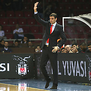 Olympiacos's coach Georgios Bartzokas during their Turkish Airlines Euroleague Basketball Top 16 Game 9 match Besiktas between Olympiacos Piraeus at Abdi ipekci Arena in Istanbul, Turkey, thursday, February 28, 2013. Photo by Aykut AKICI/TURKPIX