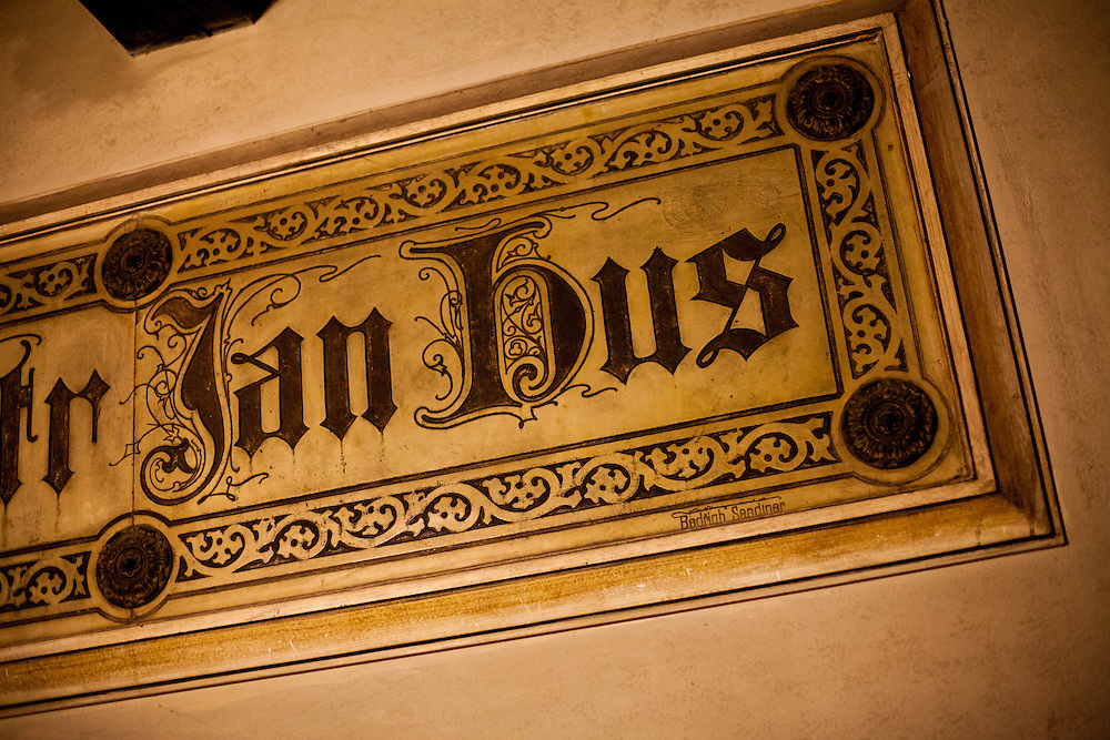 """""""Here was living Master (magistr) Jan Hus"""", inscription in the former flat of Jan Hus located in the Bethlehem Chapel in Prague. The Bethlehem Chapel became very popular because of reformer Jan Hus (John Huss), who preached there from 1402 to 1412."""