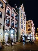 Schaffhausen's Old Town at night, Switzerland, Europe.